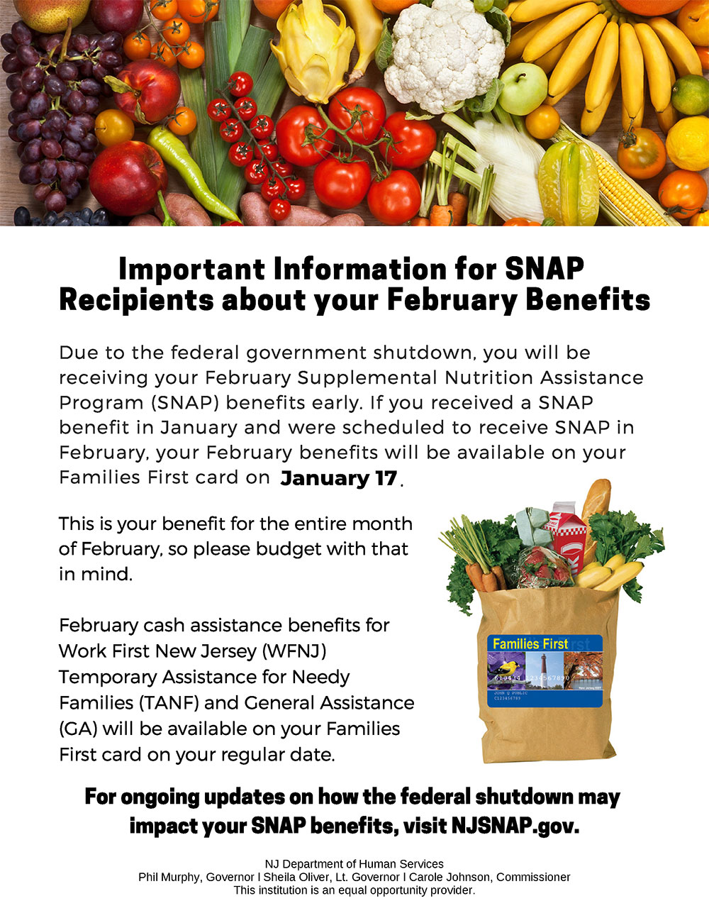 Important Information for SNAP Recipients about your