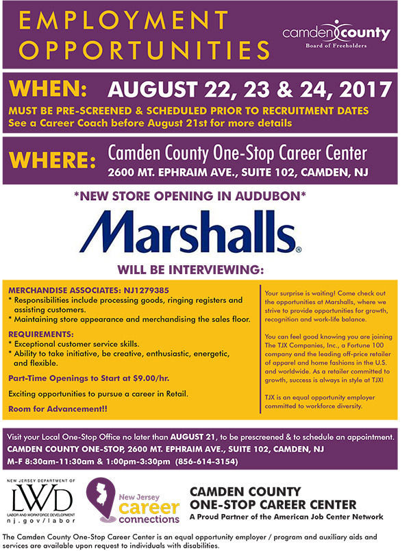 one-stop career center – employment opportunity event | camden