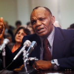 Apr 03, 1979; Washington, DC, USA; Former boxer JERSEY JOE WALCOTT at the 1979 Federal Boxing Hearing.