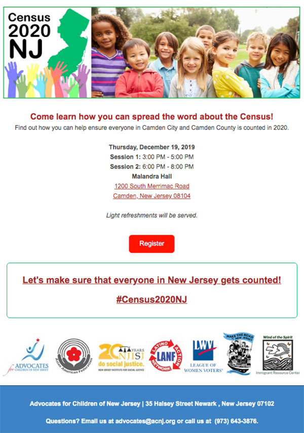 Census 2020 NJ Training - Click to Register